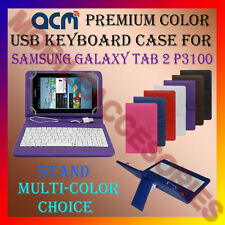 "ACM-USB COLOR KEYBOARD 7"" CASE for SAMSUNG TAB 2 P3100 LEATHER COVER STAND FLIP"