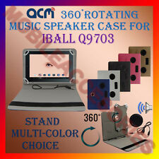 "ACM-PORTABLE MUSIC SPEAKER 360° ROTATING 10"" CASE for IBALL Q9703 TABLET COVER"