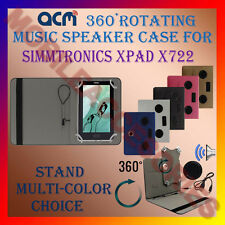 "ACM-PORTABLE MUSIC SPEAKER 360° ROTATING 7"" CASE for SIMMTRONICS XPAD X722 TAB"