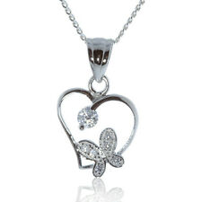 925 STERLING SILVER HEART BUTTERFLY PENDANT WITH CUBIC ZIRCONIA CHAIN NECKLACE