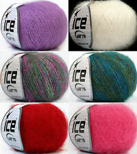 MOHAIR WOLLE Kid Mohair Classic in 6 Farben *ICE YARNS* 70%Kid Mohair 230m / 25g