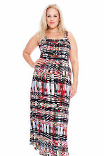 New Womens Maxi Dress Ladies Plus Size Abstract Artsy Print Sleeveless Nouvelle