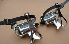 Retro Pedals & Steel Toe Clips & Leather Straps Bicycle Vintage Sports Bike