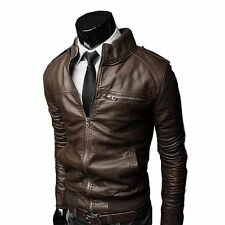Men Stylish Slim Fit Biker Jacket - GD178-2 Dark Brown