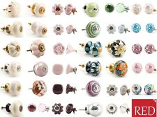 Large Selection - Cream,Pink,Green Ceramic Door Knobs Drawer Pulls Cupboard