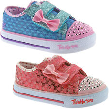 GIRLS SKECHERS SHUFFLES SWEET STEPS TRAINERS SIZE UK 4 - 11 TWINKLE TOES 10284
