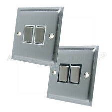 Slimline Satin Brushed Matt Chrome  2 Gang Light Switch 10 Amp Double 2 Way