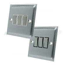 Slimline Satin Brushed Matt Chrome  3 Gang Light Switch 10 Amp Triple 2 Way