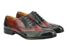 Mens Two Tone Black Brown Real Leather Oxford Lace up Brogue Gatsby Formal Shoes