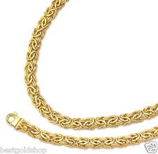9mm Byzantine Bracelet Chain Necklace Set Lobster Clasp Real 14K Yellow Gold