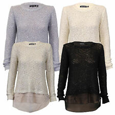Ladies Jumper Brave Soul Womens Knitted Sweater Sequin Hi Low Hem Chiffon Winter