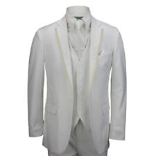 Mens 3 Piece White Formal Casual Fitted Suit Trim Lapel Jacket Wedding Work Prom