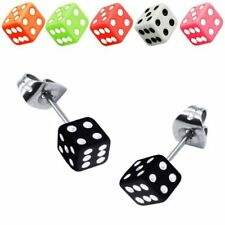 1 Pair Ear Stud Earring Dice Rockabilly black white red pink green orange
