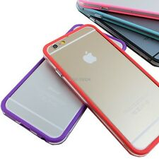 "For iPhone 6 4.7"" Plus 5.5 Ultra Thin Hybrid TPU Bumper Frame Metal Buttons Case"