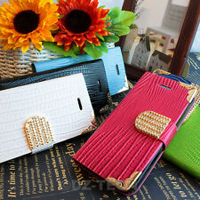 For iPhone 5C Crocodile Bling Diamond PU Leather Wallet Flip Pouch Case Cover