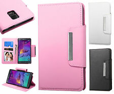 For Samsung Galaxy Note 4 Premium Leather Wallet Pouch Flip Case + Screen Guard