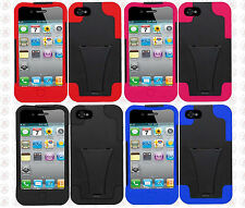 For Apple iPhone 4 4S Hard Advanced HYBRID KICKSTAND Rubber Case Phone Cover