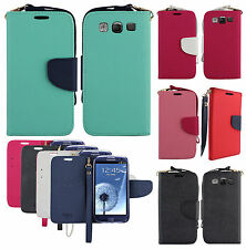 For Samsung Galaxy S3 S III 2 Tone Wallet Case Pouch Flip Cover + Screen Guard