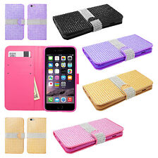 For Apple iPhone 6 Plus Premium Bling Wallet Case Pouch Cover + Screen Guard