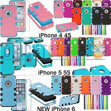Hybrid TUFF Hard Soft Combo Case Cover For NEW Apple iPhone 6 , 5 5S ,