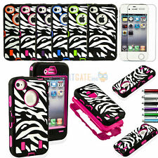 Hybrid Zebra Rugged Rubber Hard Soft Case Cover For Apple Iphone 4 4S 4G+ Gifts