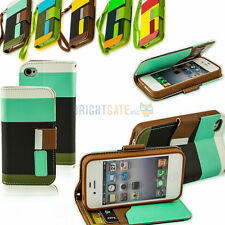 New Slim Wallet Card Holder PU Leather Pouch Flip Case Cover for IPhone 4 4S 4G