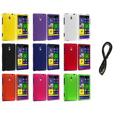 For HTC Windows Phone 8XT Color Hard Snap-On Rubberized Case Cover+6FT