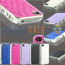 NEW Luxury Rhombus Soft Lambskin Leather Chrome Case Cover For iphone 4/4S