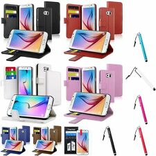 Card Wallet Flip Leather Stand Case Cover+Stylus+Protector For Samsung Galaxy S6