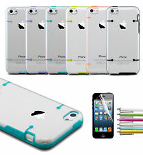Stylus+ Colorful Shockproof Hybrid Rugged Rubber Hard Case Cover For iPhone 5C