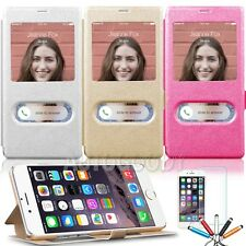 "Apple iPhone 6 , 6S Case 4.7"" Smart Window View PU Stand Flip Hard Cov"