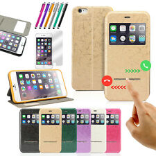 Flip Leather Wallet w, View Window Skin Case Cover for Apple iPhone 6