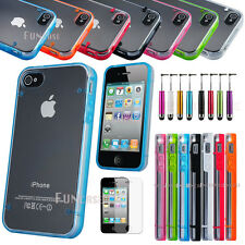 Clear Hybrid Rugged Rubber Matte Hard Case Cover For iPhone 4 4S + Free Pen Fil
