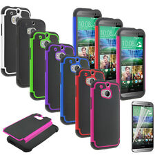 Film + Shockproof Rubber Plastic Hybrid Gel Case Cover Shell For HTC One M8