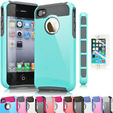 Hybrid Rugged Rubber Matte Hard Case Cover For iPhone 4 4S 4G + Screen