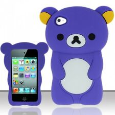 PURPLE TEDDY BEAR SOFT SILICONE CASE COVER FOR APPLE iPOD iTOUCH 4 , 4