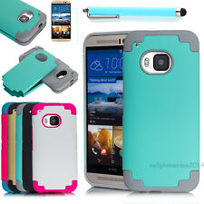 Hybrid Rugged Rubber Shockproof Hard Matte Case Cover For HTC One M9 +Film+Pen