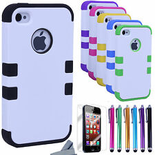 Pen+Hybrid Rugged Rubber Matte Hard Case Cover For iPhone 4G 4S w, Scr