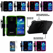 Samsung Galaxy S4 Active Rugged Dual Layer Hybrid Holster Belt Clip Case Cover