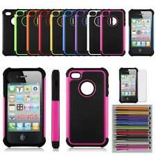For iPhone 4 , 4S Black Rugged Rubber Matte Hard Case Cover w, Screen