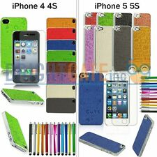 Pattern Leather Coated Plated Hard Case For Apple iPhone 4 4S 5 5S +Fi