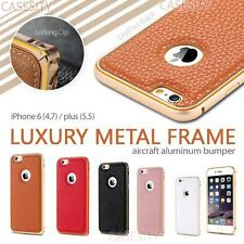 Luxury Metal Frame Leather Back Case Cover For Apple iPhone 6 4.7'' Plus 5.5''