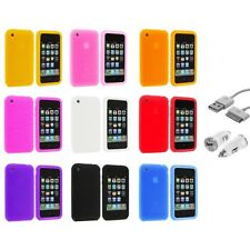 Swirl Silicone Rubber Cover Case Accessory+USB+Car Charger for iPhone