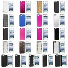 Diamond Bling Aluminum Chrome Twill Leather Back Hard Case Cover For iPhone 5 5S