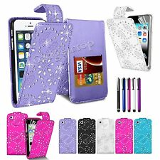 Diamond Bling Glitter Leather Flip Case Cover For iPhone 5 5S 5c iPod