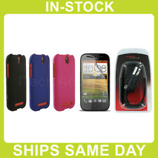 HTC One SV Rubberized Protective Hard Case Cover Shield Snap On Skin - Black