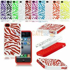 IMPACT 2in1 Combo Hybrid ZEBRA Silicone WHITE PC Case Cover For iPhone 4/4S