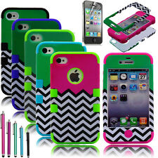 Hybrid Chevron Rubber Rugged Combo Matte Case Hard Cover for iPhone 4