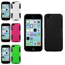 Color Design 2 Layer Mesh Hybrid Rubber Hard Case Cover For Apple iPhone 5C