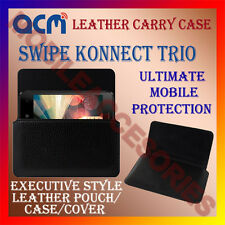 ACM-HORIZONTAL LEATHER CARRY CASE for SWIPE KONNECT TRIO MOBILE COVER HOLDER NEW